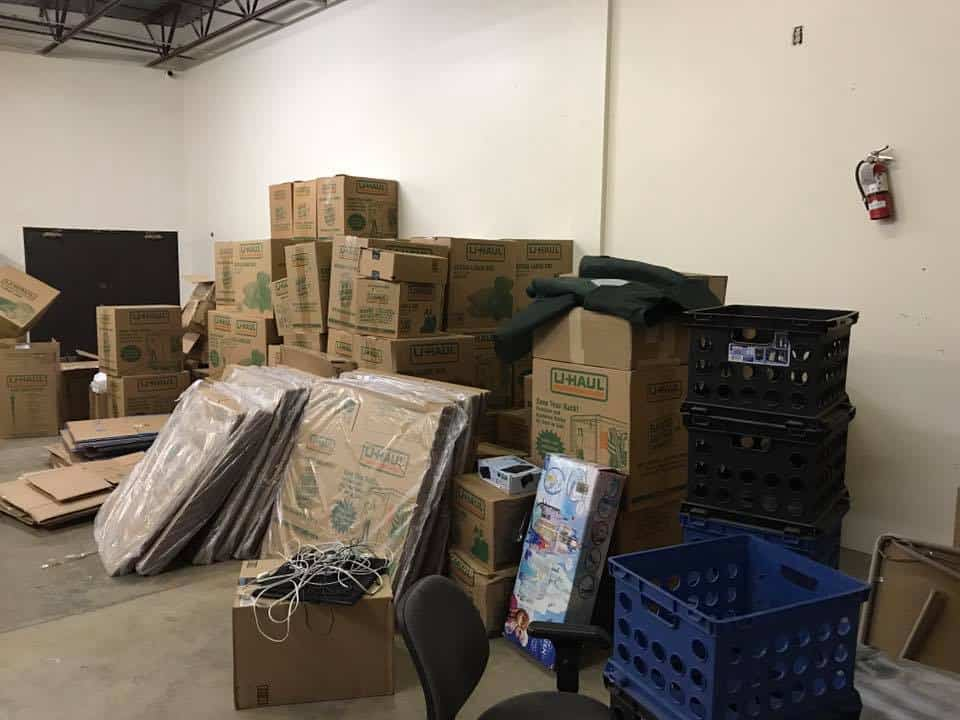 Boxes in our warehouse.